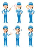 Set of 6 women posing work wearing clothes _ 1 royalty free illustration