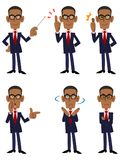 Six pattern poses and actions of African businessman vector illustration