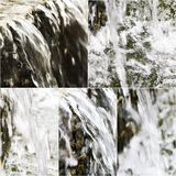 Images of small artifitial waterfall. Collage of falling water in park fountain. Set of photo selective focus Stock Photography