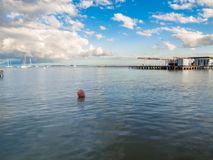 The Mar Menor at sunset with some beautiful clouds stock photos