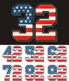 Images sportives de texture de drapeau de l'Amérique de nombre d'ensemble Illustration Stock