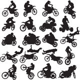 20 images of sportsmen of motorcyclists. 20 black images  motorcyclists on a white background Stock Photos