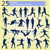 25 images track and field athletes. 25 blue images track and field athletes on a yellow background Stock Photo