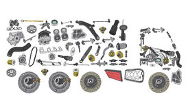 Images truck assembled from spare parts Stock Photo