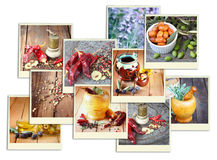 Images with a variety of different spices and spice grinder. collage Royalty Free Stock Images