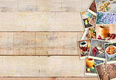 Images with a variety of different spices and spice grinder. collage on wooden background Stock Images