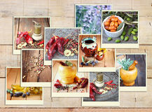 Images with a variety of different spices and spice grinder. collage on wooden background Stock Photos
