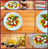 Images with a variety of salad with mozzarella and fresh vegetables on wooden table background.collage Royalty Free Stock Photography