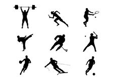 Kinds of sport: football, hockey and others stock illustration