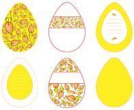 Images of vector eggs with different patterns in yellow on white background stock illustration