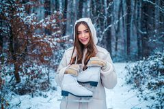 Images for winter. Beauty Winter Girl in frosty winter Park. Beautiful young woman laughing outdoors. stock photo