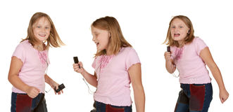 Images of young girl dancing with mp3 Stock Photos