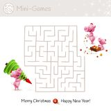 Christmas maze game for preschool and school kids. Illustration with cartoons - family of pigs, christmas tree and decor. stock illustration