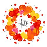Hand Drawn Color Hearts on White Background. Stock Photo