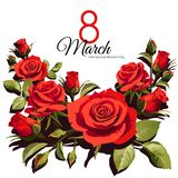 8 March Women`s Day greeting card template. Red roses isolated on white background. Images for your design projects stock illustration
