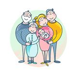 Mother`s and father`s day. Happy family - mother, father, child and grandparents. Images for your design projects Royalty Free Stock Photo