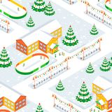 The School and the Students During the Christmas and New Year. Seamless Pattern. Royalty Free Stock Image