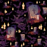 Seamless Halloween pattern with graves, bats, candles and lanterns on black background. Images for your design projects Royalty Free Stock Photography