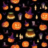 Seamless Halloween pattern with pumpkins, bats, boilers and lanterns on black background. Images for your design projects Royalty Free Stock Images