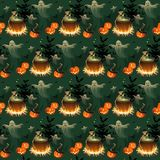 Seamless Halloween pattern with pumpkins, skeletons, ghosts and bonfires on black background. Images for your design projects Royalty Free Stock Image