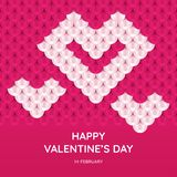 Valentine`s Day greeting card template. White heart on pink background. Images for your design projects Royalty Free Stock Photos