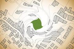 Imaginär matrikel- översikt av territoriet med byggnader, vägar och landjordlotten - formad virvel för begrepp bild royaltyfri foto