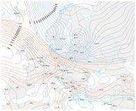 Imaginär meteorologisk vektorväderöversikt av Europa royaltyfri illustrationer