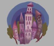 Imaginär purpurfärgad slott med träd mot himlen royaltyfri illustrationer