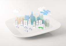Imaginär stad på en platta royaltyfria foton