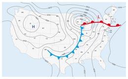 Imaginär väderöversikt av Amerikas förenta stater royaltyfri illustrationer