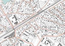 Imaginärt plan per bostadsområde av privat hus Bostads- låghus- byggnader för fjärdedel också vektor för coreldrawillustration Royaltyfria Bilder