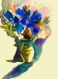A imaginação abstrata da pintura colorida da beleza floresce o ramalhete ilustração stock