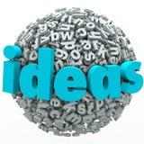 Imaginação da faculdade criadora da esfera da bola da letra das ideias Foto de Stock