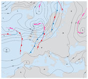 Imaginacyjna pogodowa mapa Europe pokazuje izobary i pogoda przody royalty ilustracja