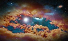 Imaginacyjny przestrzeń krajobraz z gwiazdami i mgławicą z racą przy zdjęcie royalty free