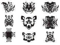 Imaginary animal head and symbols from it Royalty Free Stock Photos
