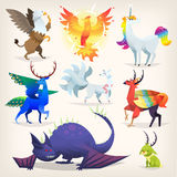 Imaginary animals from fairy tales. Set of colorful mythological fantasy creatures from all over the world Stock Image