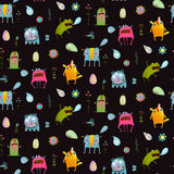 Imaginary animals and monsters seamless pattern background on black Royalty Free Stock Photography