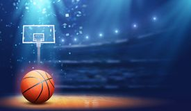 Basketball arena and ball. The imaginary basketball arena and ball are modelled and rendered stock images