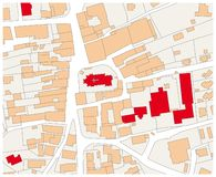 Imaginary cadastral map of an area with buildings and streets.  vector illustration