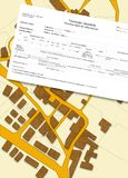 Imaginary cadastral map of territory with buildings and roads Stock Photo