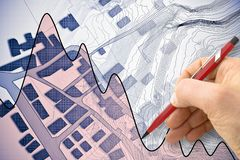 Imaginary cadastral map of territory with buildings, roads and h stock photography