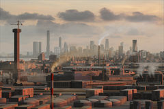 Imaginary city 19. A 3d model of an imaginary city illustration Royalty Free Stock Image