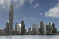 Imaginary city 20. A 3d model of an imaginary city illustration Royalty Free Stock Photo