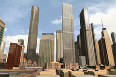 Imaginary city 31. A 3d model of an imaginary city illustration Royalty Free Stock Images