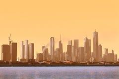 Imaginary city 36. A 3d model of an imaginary city illustration Royalty Free Stock Photos