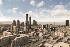 Imaginary city 63. A 3d model of an imaginary city illustration Stock Photos