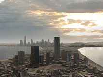 Imaginary city 8. A 3d model of an imaginary city illustration Stock Photography