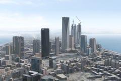 Imaginary city 93. A 3d model of an imaginary city illustration Stock Photo