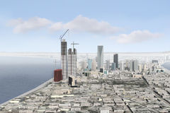 Imaginary city 97. A 3d model of an imaginary city illustration Royalty Free Stock Photo